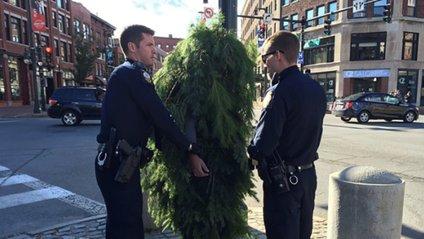 Поліція затримала чоловіка-ялинку - фото 1