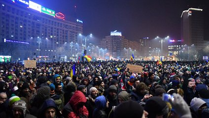 Нічні акції протесту в Румунії - фото 1