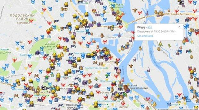 Карта з усіма покемонами Києва - фото 96755