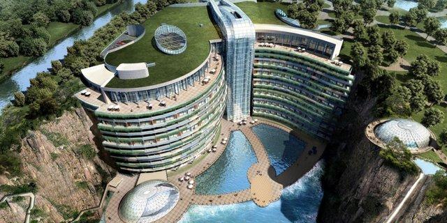Готель у закинутому кар'єрі в Китаї: ефектні фото - фото 290652