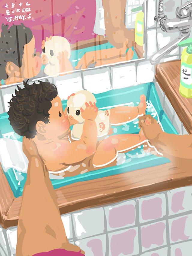 Самотній тато показує, як виховувати дитину: душевні ілюстрації - фото 290962