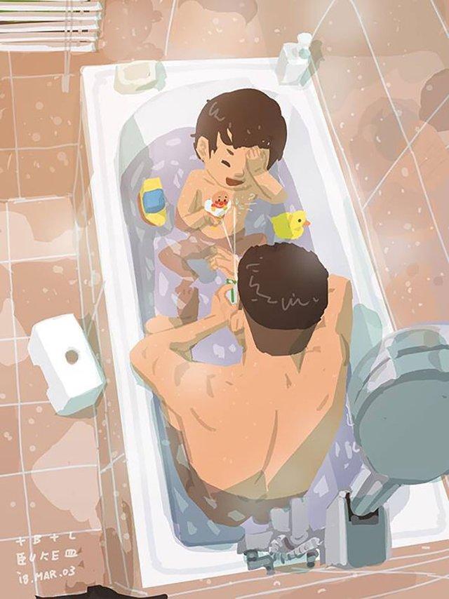 Самотній тато показує, як виховувати дитину: душевні ілюстрації - фото 290964