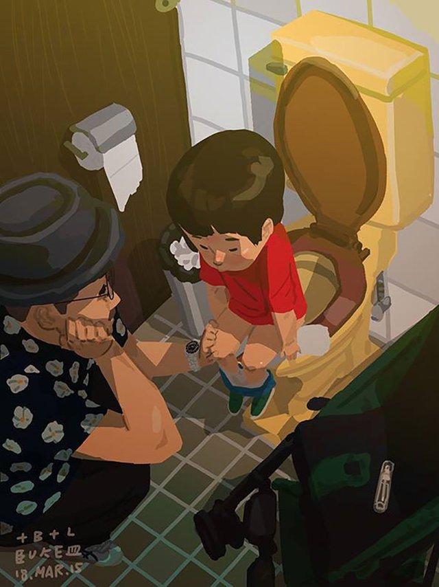 Самотній тато показує, як виховувати дитину: душевні ілюстрації - фото 290965