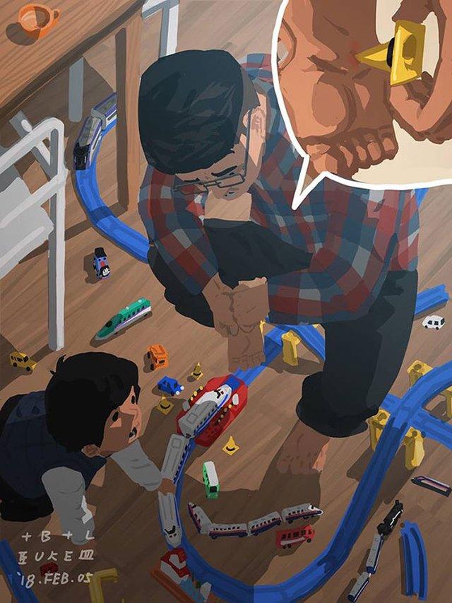 Самотній тато показує, як виховувати дитину: душевні ілюстрації - фото 290966