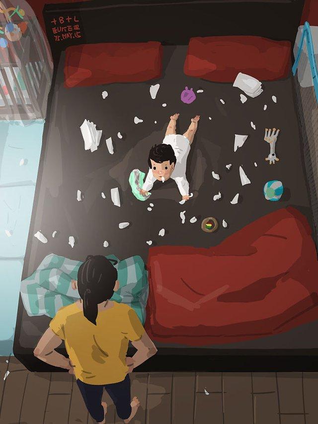 Самотній тато показує, як виховувати дитину: душевні ілюстрації - фото 290968