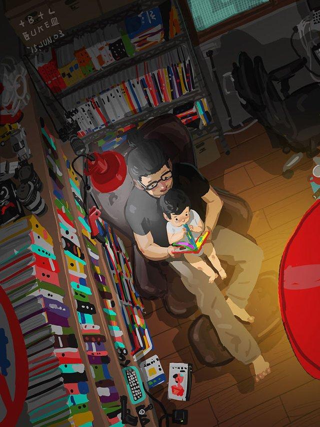 Самотній тато показує, як виховувати дитину: душевні ілюстрації - фото 290973