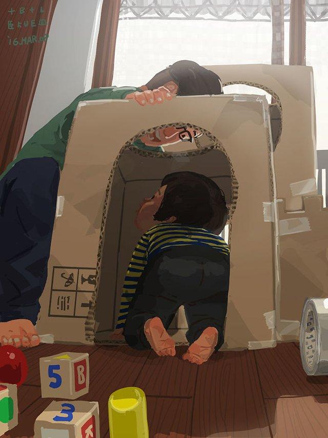 Самотній тато показує, як виховувати дитину: душевні ілюстрації - фото 290975