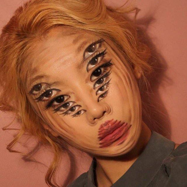 Моторошні оптичні ілюзії, створені за допомогою макіяжу - фото 294024