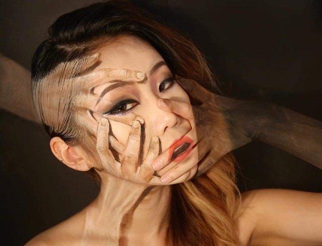Моторошні оптичні ілюзії, створені за допомогою макіяжу - фото 294026