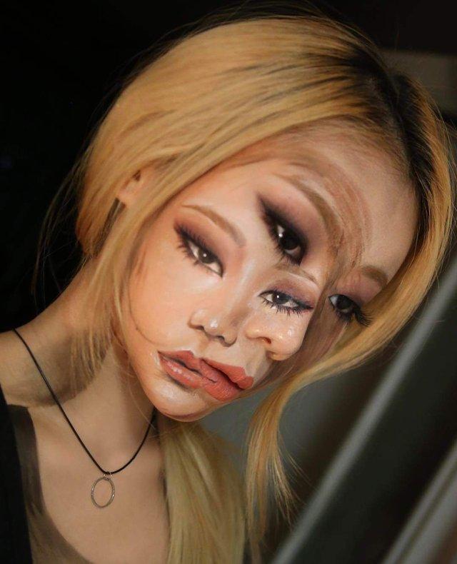 Моторошні оптичні ілюзії, створені за допомогою макіяжу - фото 294027