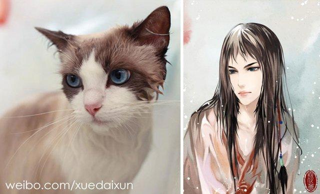 Художниця перетворює котиків у персонажів аніме - фото 296444