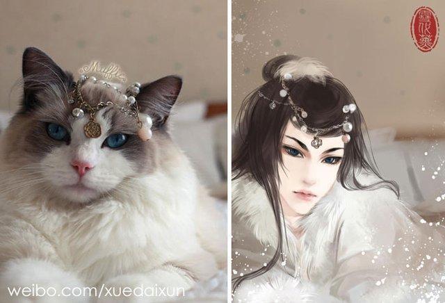 Художниця перетворює котиків у персонажів аніме - фото 296445