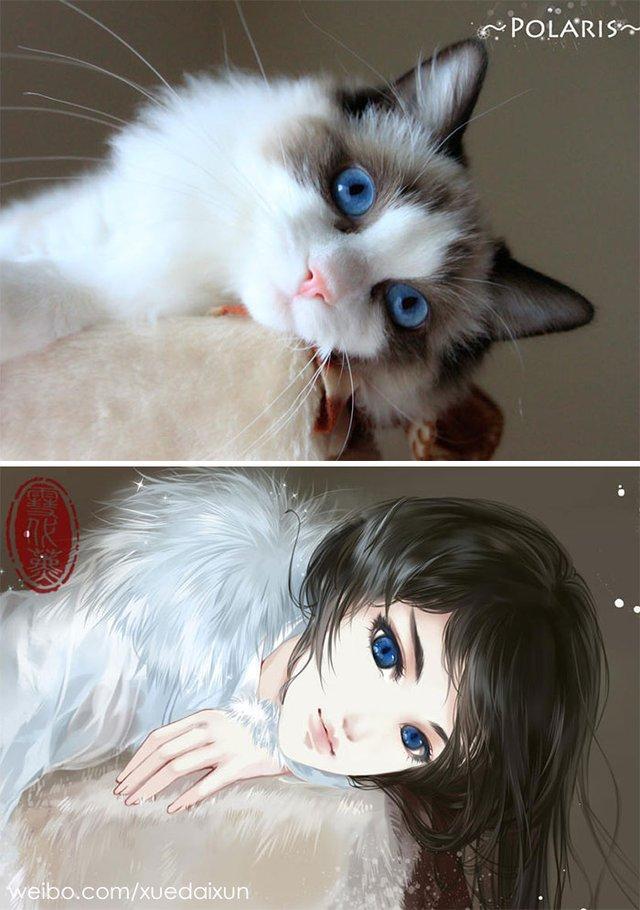 Художниця перетворює котиків у персонажів аніме - фото 296447