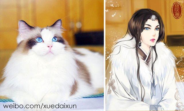 Художниця перетворює котиків у персонажів аніме - фото 296448