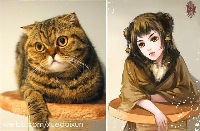 Художниця перетворює котиків у персонажів аніме - фото 296449