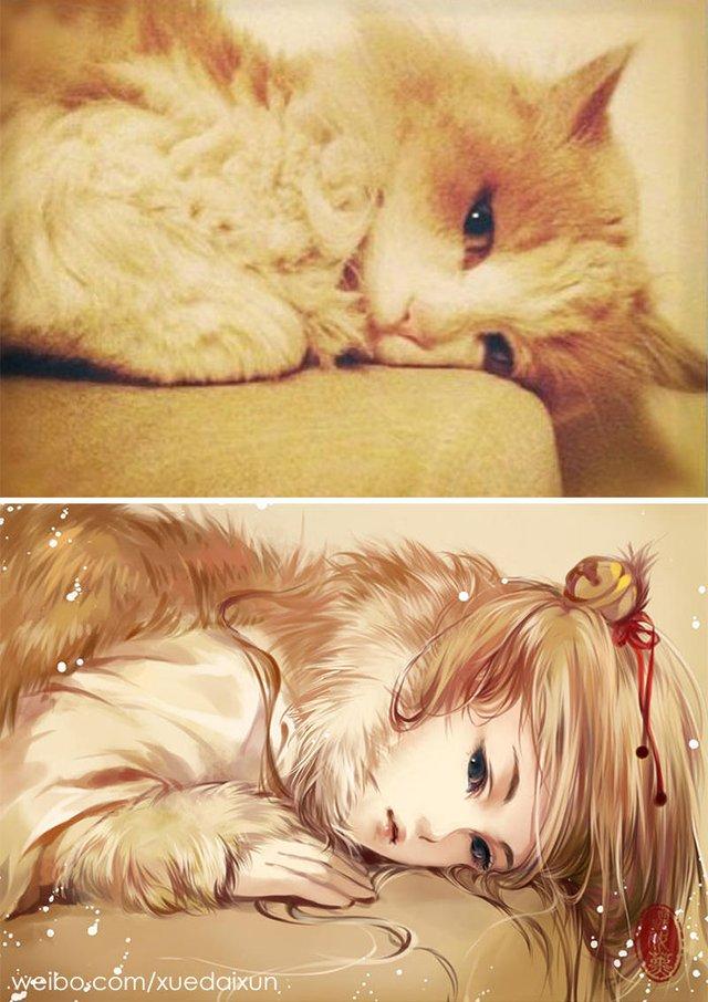 Художниця перетворює котиків у персонажів аніме - фото 296450