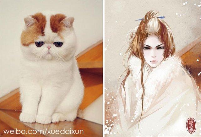 Художниця перетворює котиків у персонажів аніме - фото 296451