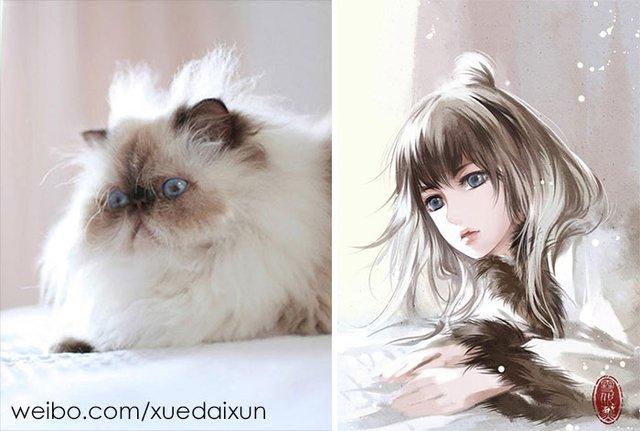 Художниця перетворює котиків у персонажів аніме - фото 296452