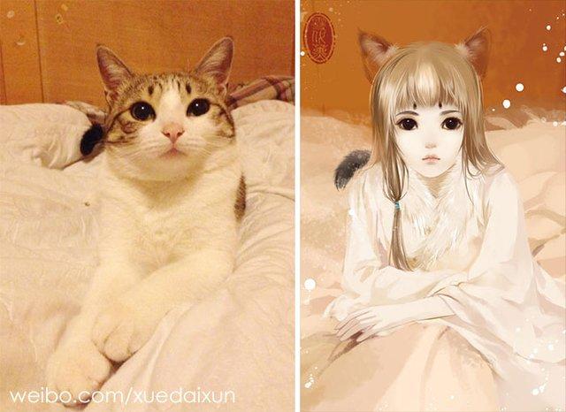 Художниця перетворює котиків у персонажів аніме - фото 296454