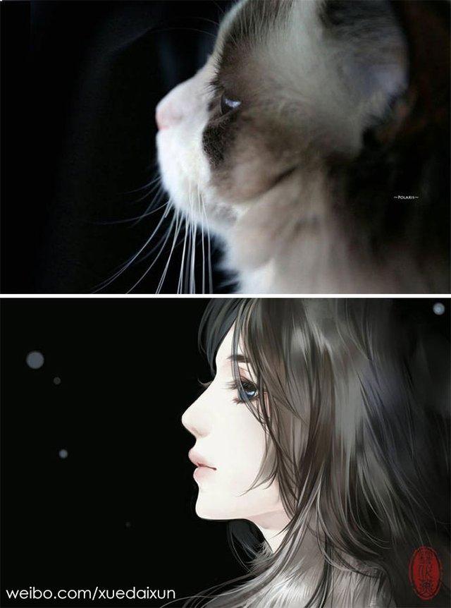 Художниця перетворює котиків у персонажів аніме - фото 296455