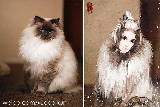 Художниця перетворює котиків у персонажів аніме - фото 296456