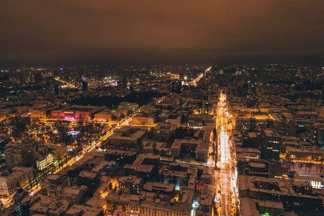Засніжений Київ з висоти пташиного польоту - фото 297979