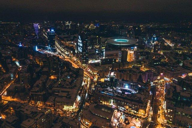 Засніжений Київ з висоти пташиного польоту - фото 297980