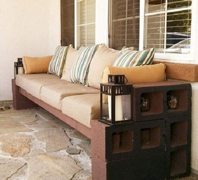 Меблі зі звичайного шлакоблоку: дешеві ідеї - фото 299811