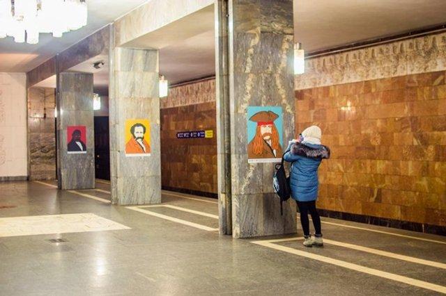У київській підземці з'явилися незвичайні портрети Шевченка - фото 306817