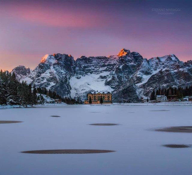 Відпочинок для душі: як виглядають взимку Доломітові Альпи - фото 307910