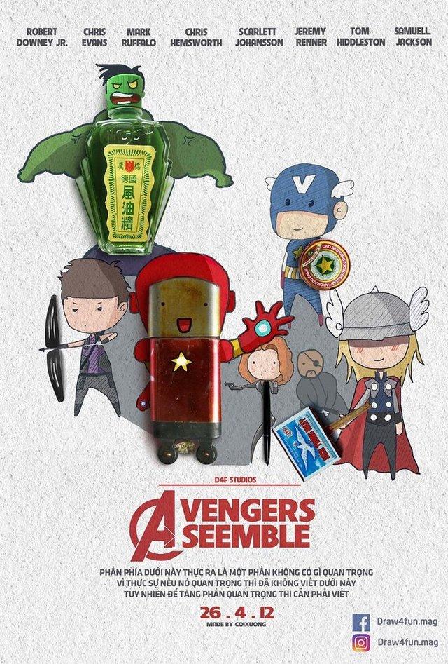 Художник створює кумедні постери з супергероями Marvel з підручних засобів - фото 321566