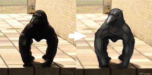'М'язистий' ворон здивував мережу: відеофакт - фото 336187