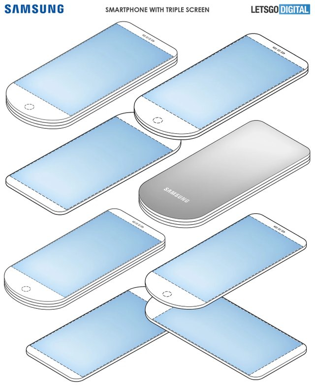 Рендер смартфона Samsung з трьома екранами - фото 344386
