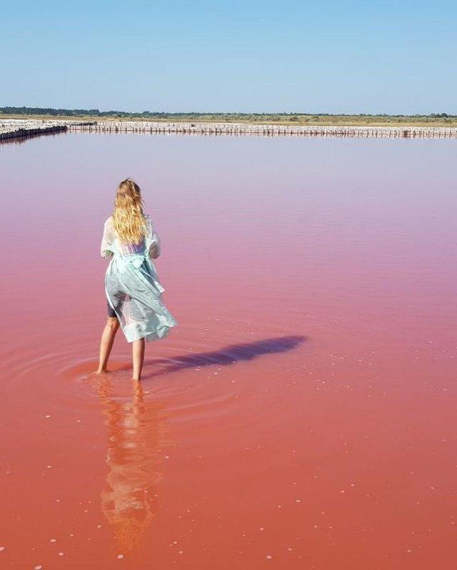 Леся Нікітюк показала ефектні знімки з унікального рожевого озера в Україні - фото 347364