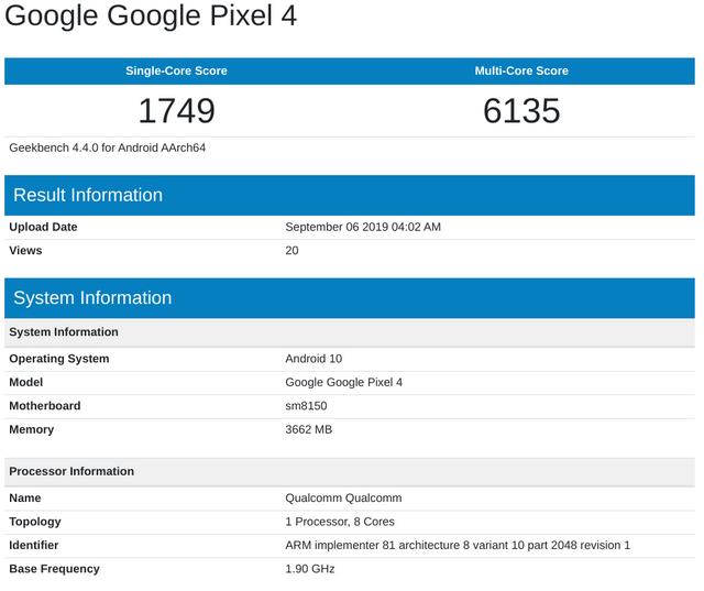 Google Pixel 4 з'явився в Geekbench: результати тестів вас вразять - фото 353063