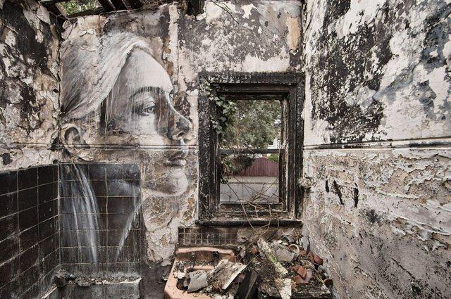 Дивовижні портрети жінок на стінах покинутих будинків - фото 355125