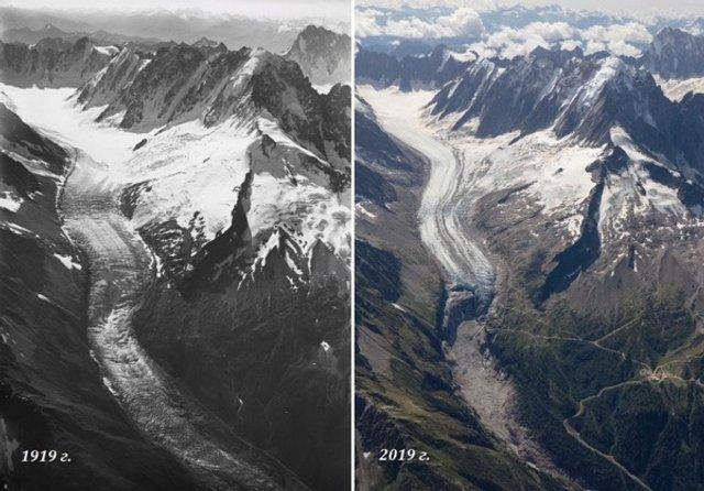 Як змінилися Швейцарські Альпи за останні сто років - фото 363152