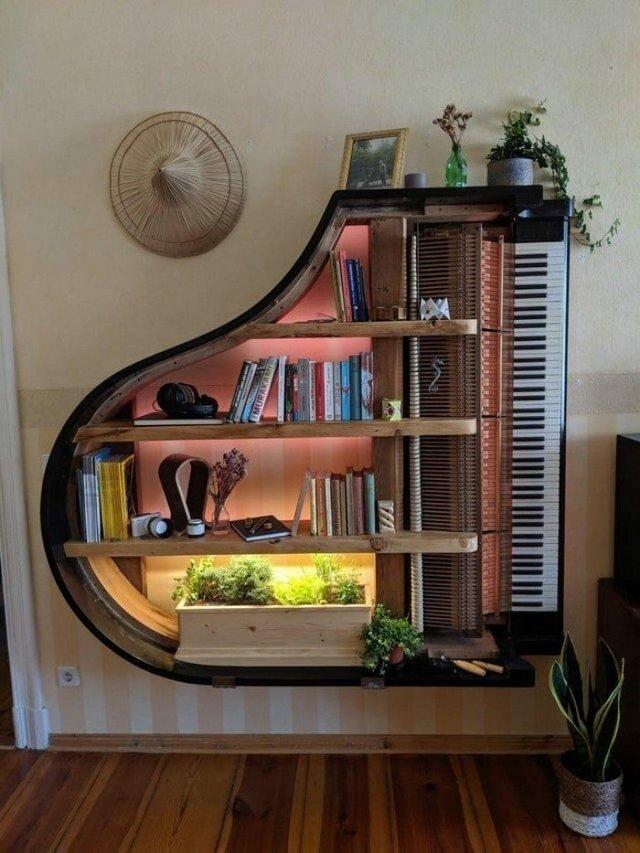 Старі піаніно перетворили у стильні меблі: ідеї для декору - фото 363378