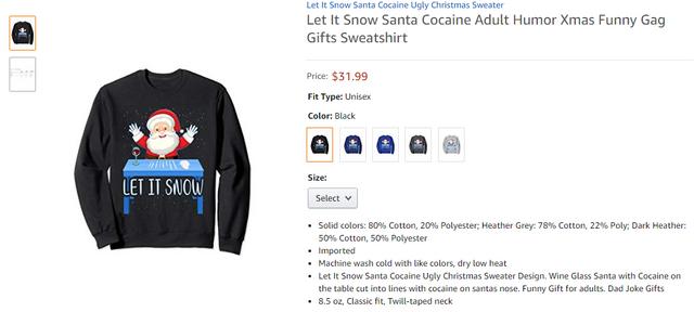 Святковий светр з кокаїном і Санта-Клаусом після скандалу став хітом продажів - фото 373940