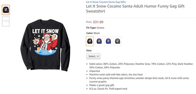 Святковий светр з кокаїном і Санта-Клаусом після скандалу став хітом продажів - фото 373941