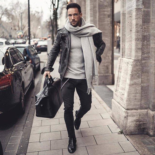 Як і з чим носити чоловічий шарф: 10 модних образів у фото - фото 374290