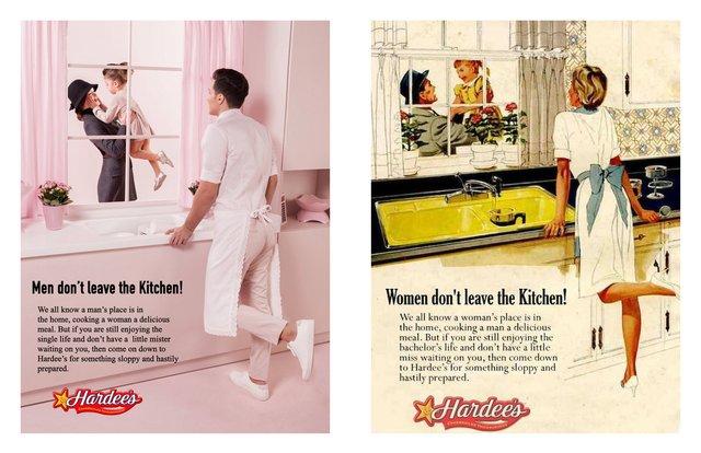 Художник переробив сексистську рекламу, помінявши місцями чоловіків і жінок - фото 396539