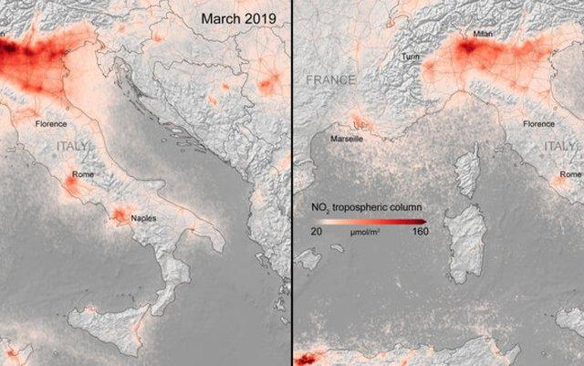 Знімки з космосу показали очищене повітря через карантин - фото 397270