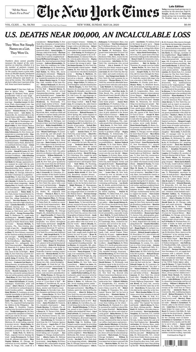 The New York Times надрукувала на першій шпальті імена жертв Covid-19 у США - фото 406022