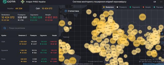 Карта поширення коронавірусу в світі, 30 червня - фото 413211