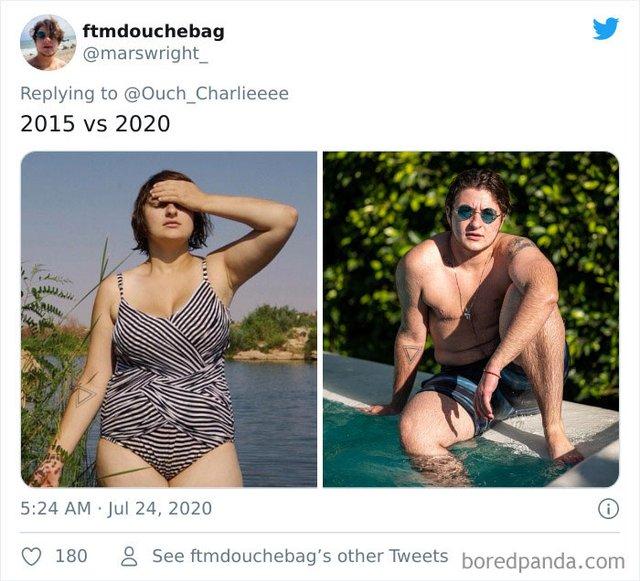 2015 vs 2020: люди показують вражаючі фотоколажі, як вони змінились за цей час - фото 417780