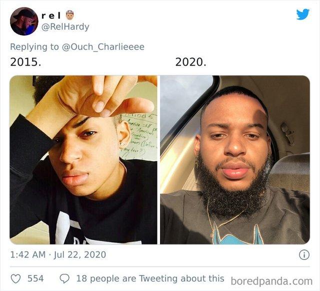 2015 vs 2020: люди показують вражаючі фотоколажі, як вони змінились за цей час - фото 417797